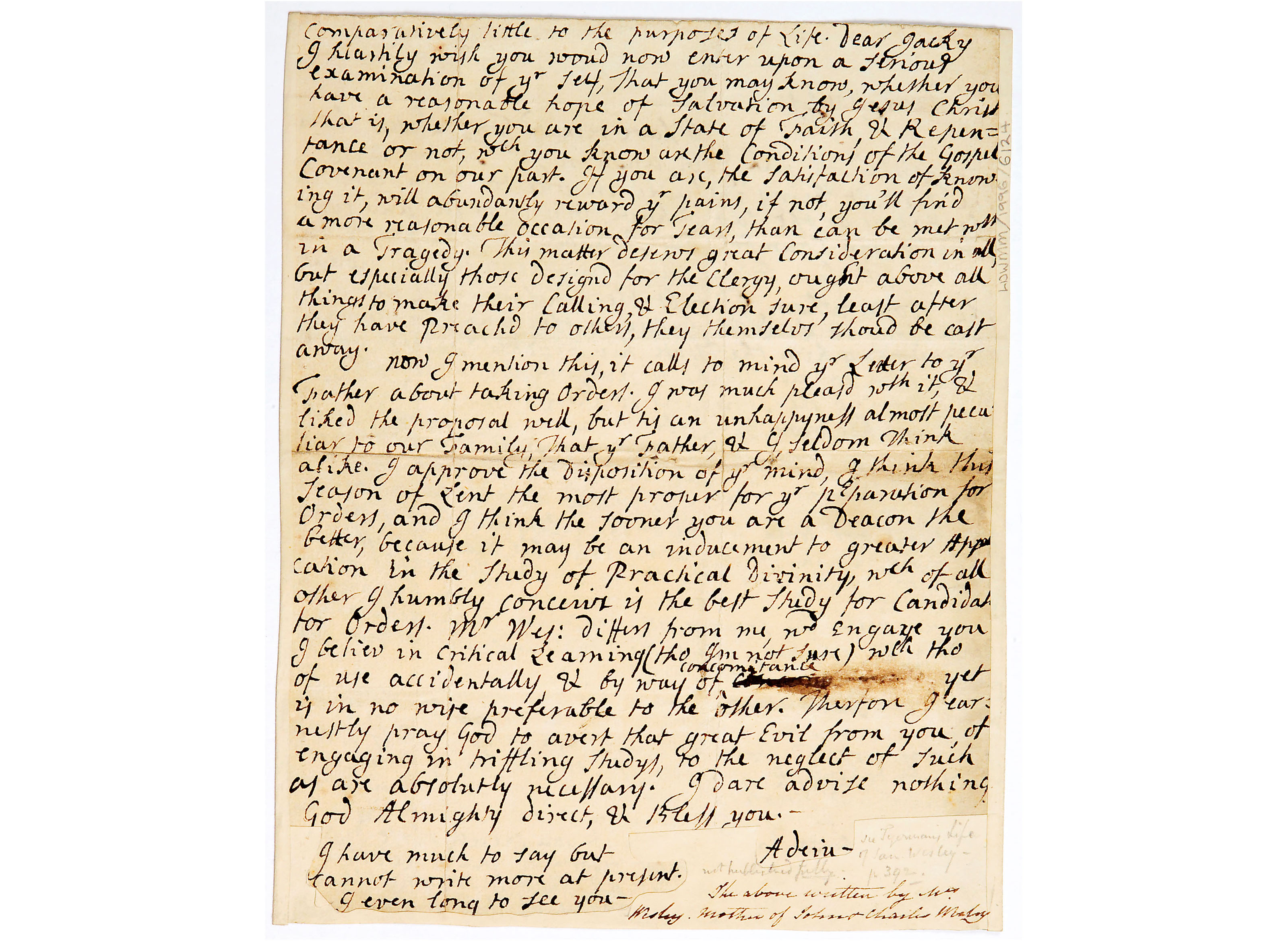 Letter from Susanna Wesley to John Wesley
