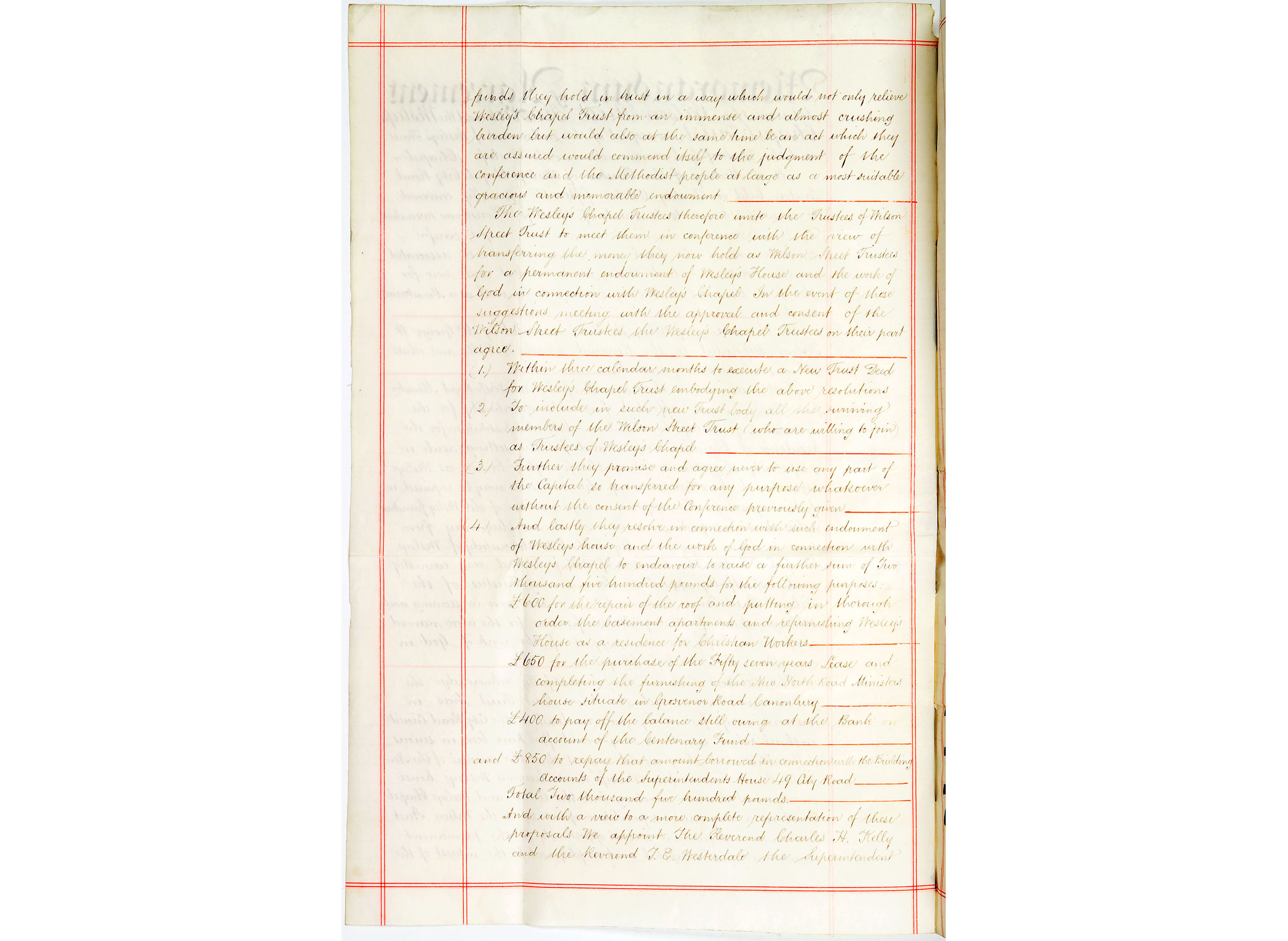 John Wesley House endowment document