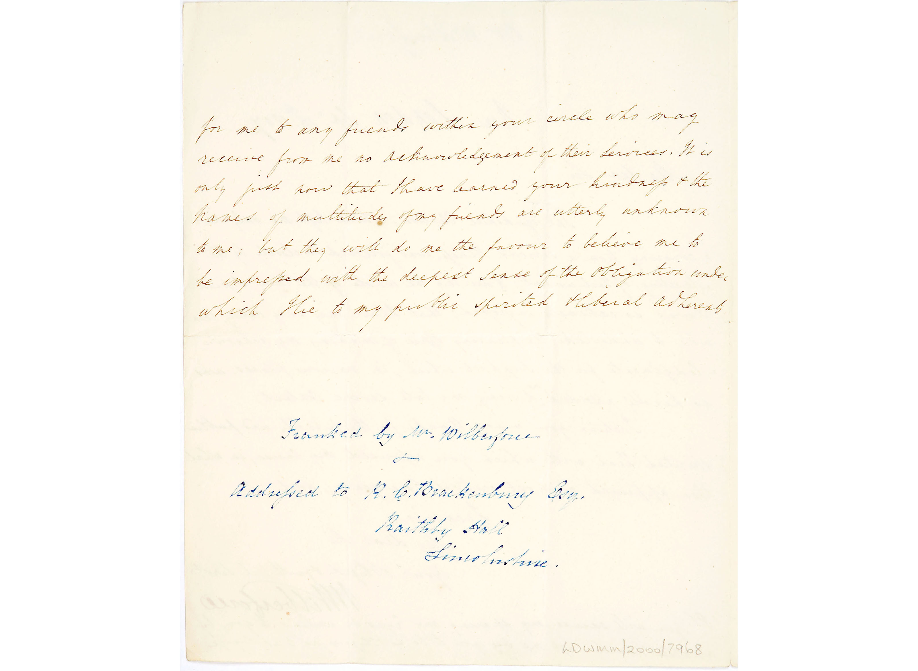 Letter from William Wilberforce to Robert Brackenbury