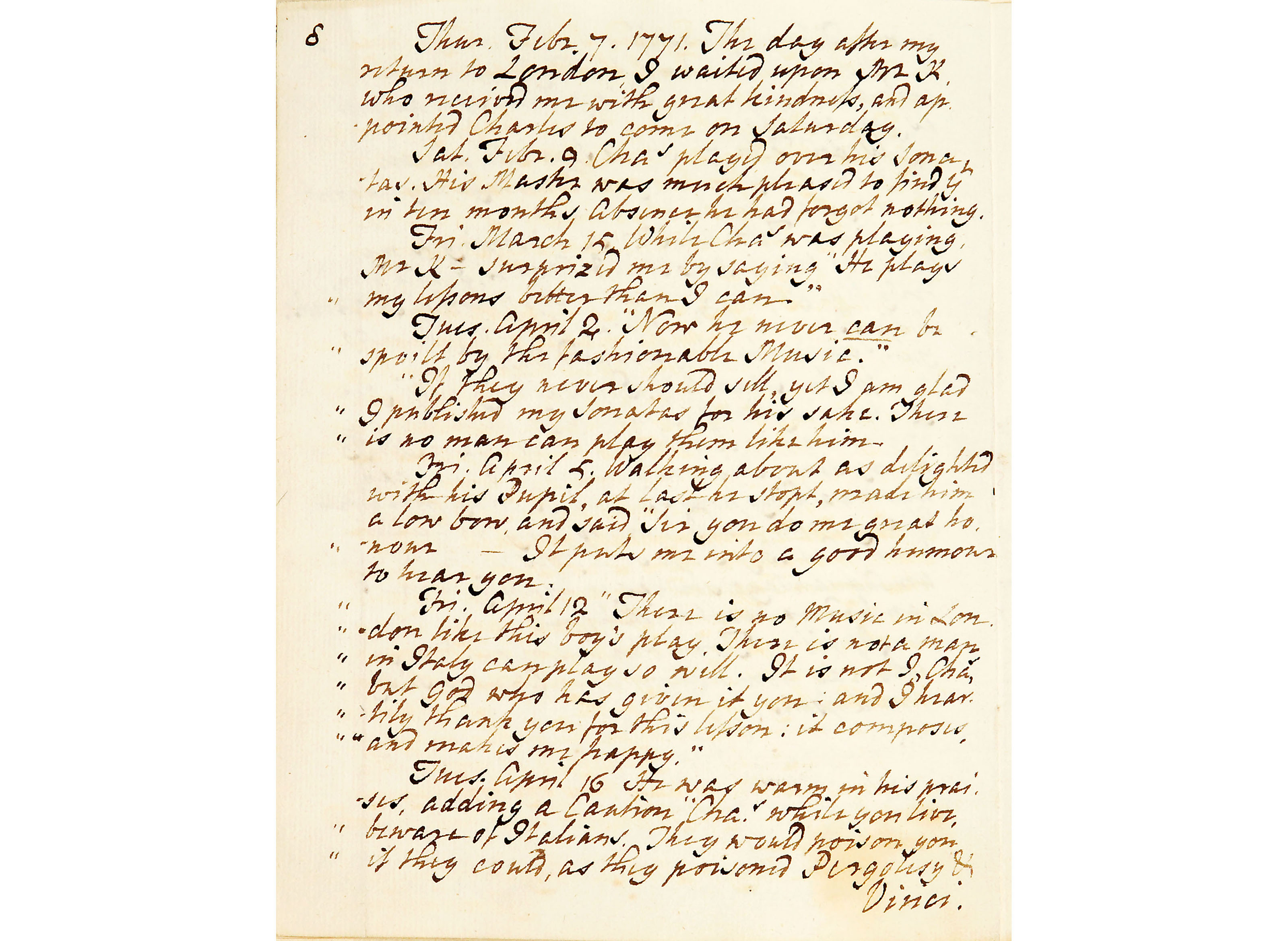 Extract from Charles Wesley's Journal