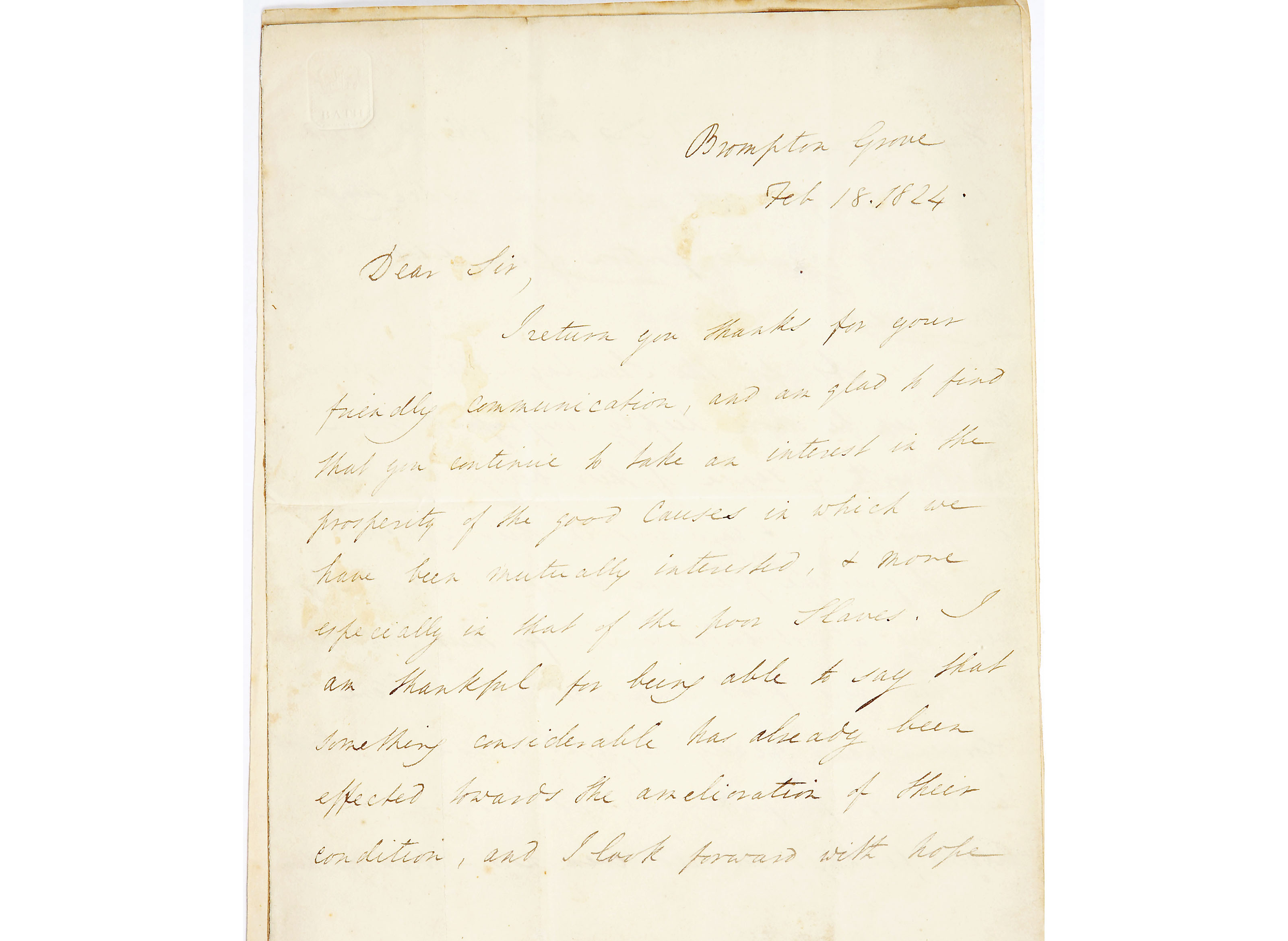 Letter from William Wilberforce to the Reverend George Marsden