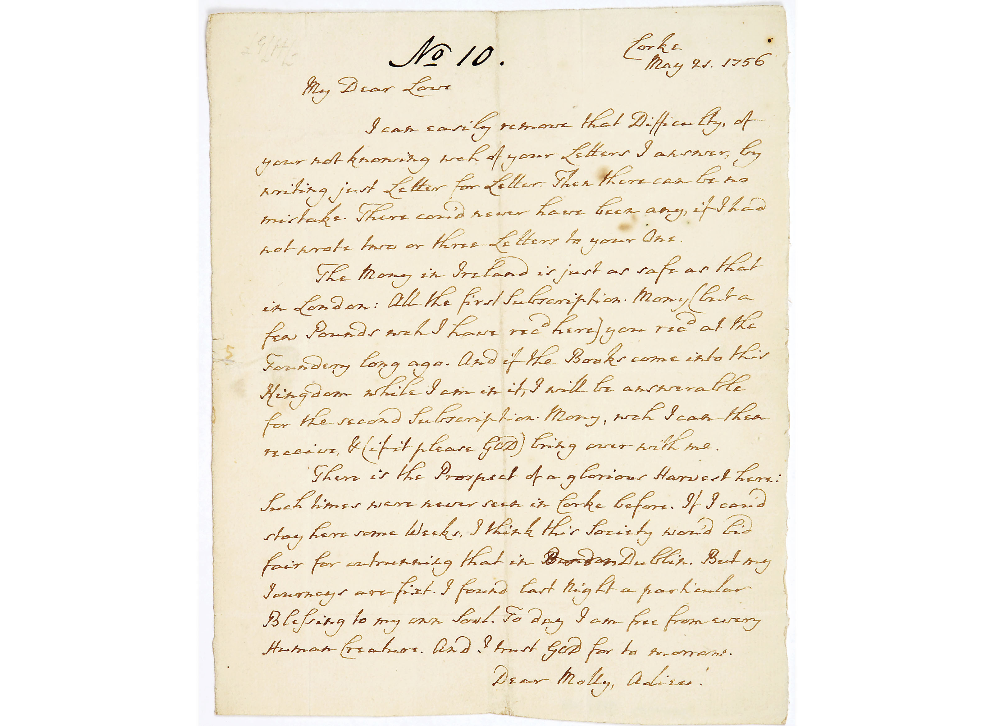Letter from John Wesley to Mrs Mary (Molly) Wesley