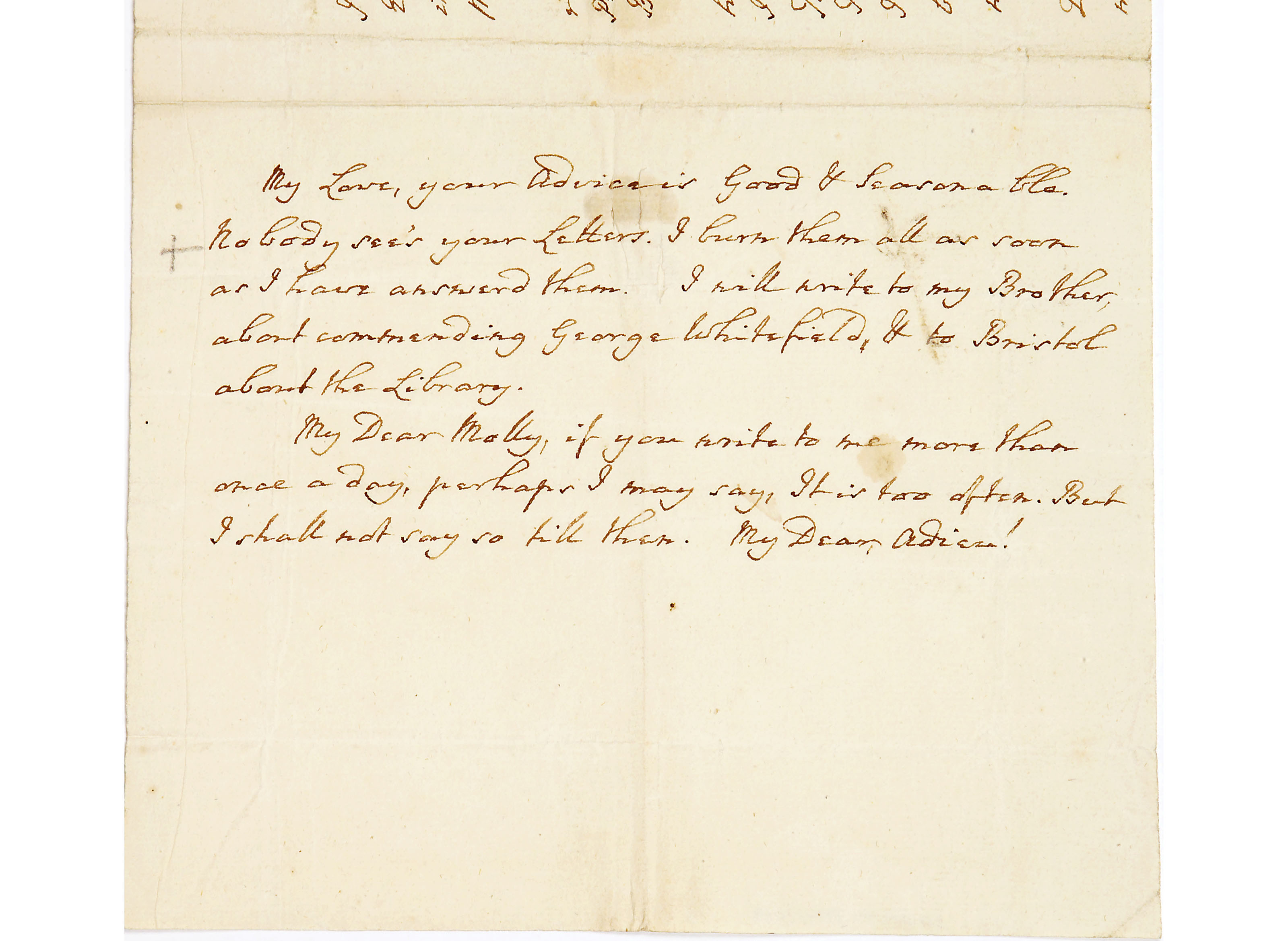 Letter from John Wesley to Mrs Mary Wesley