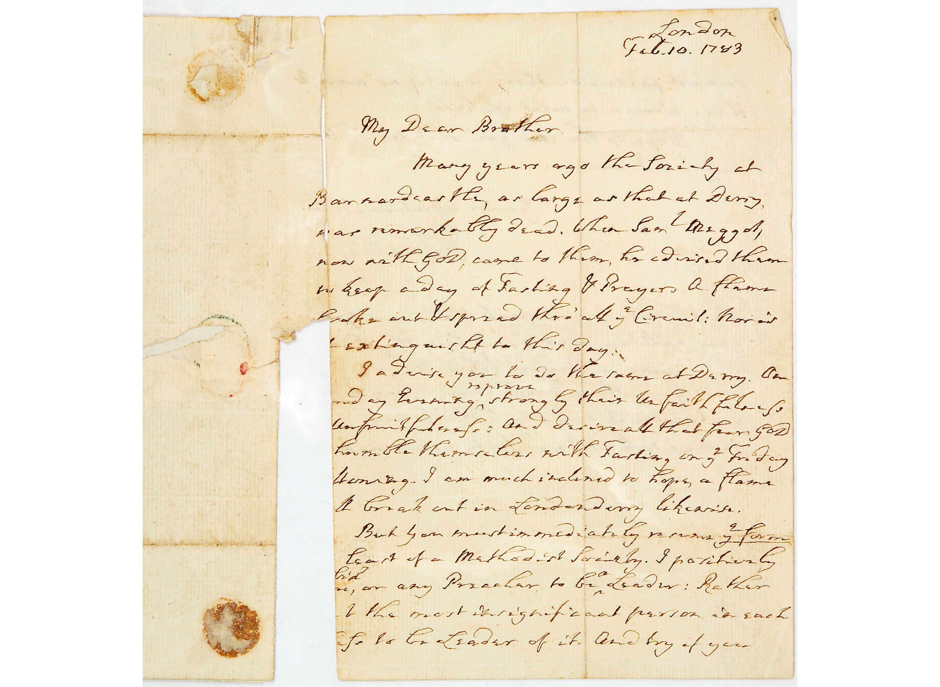 Letter from John Wesley to Mr Cricket