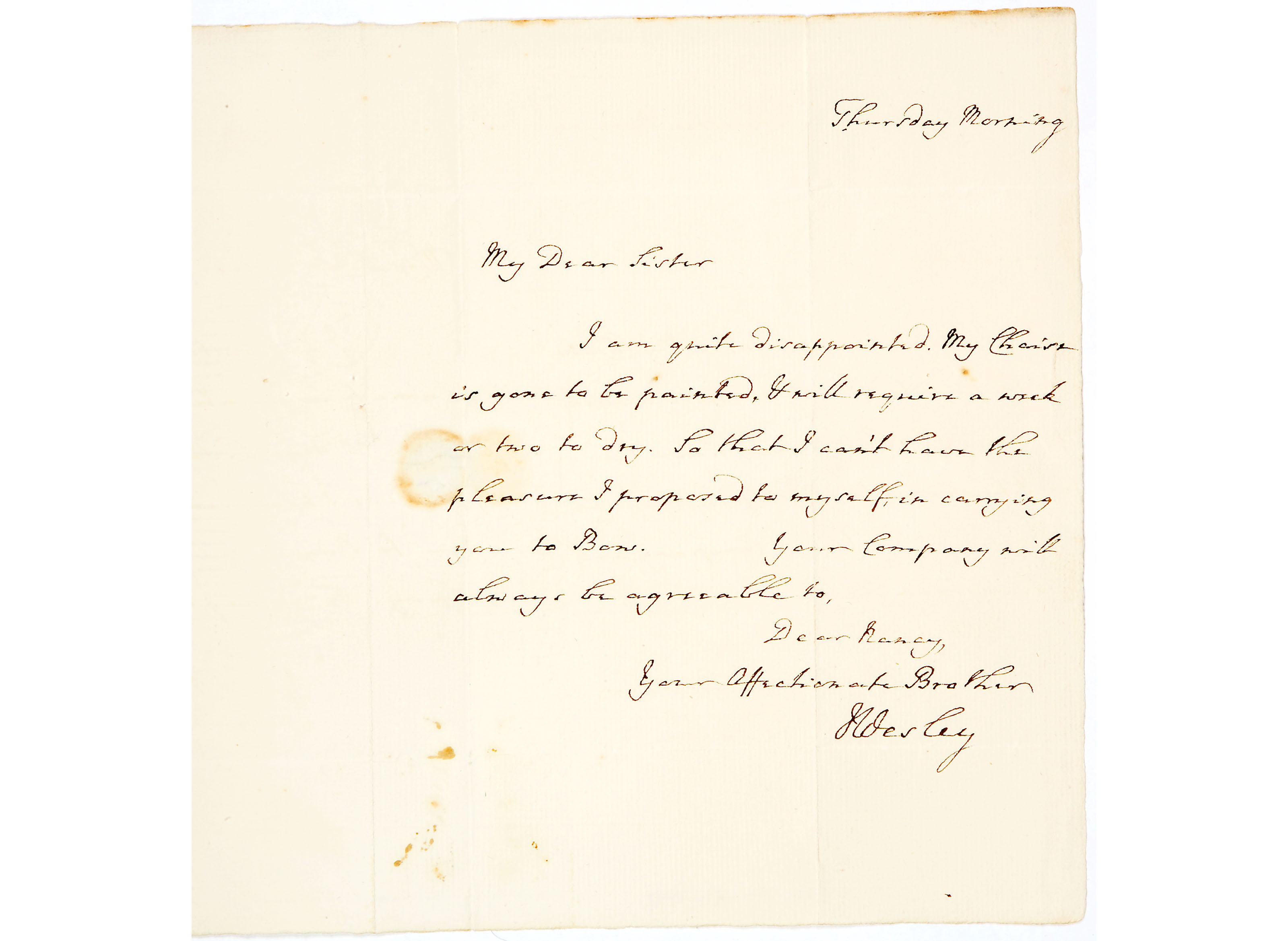 Letter from John Wesley to Miss Nancy Ford