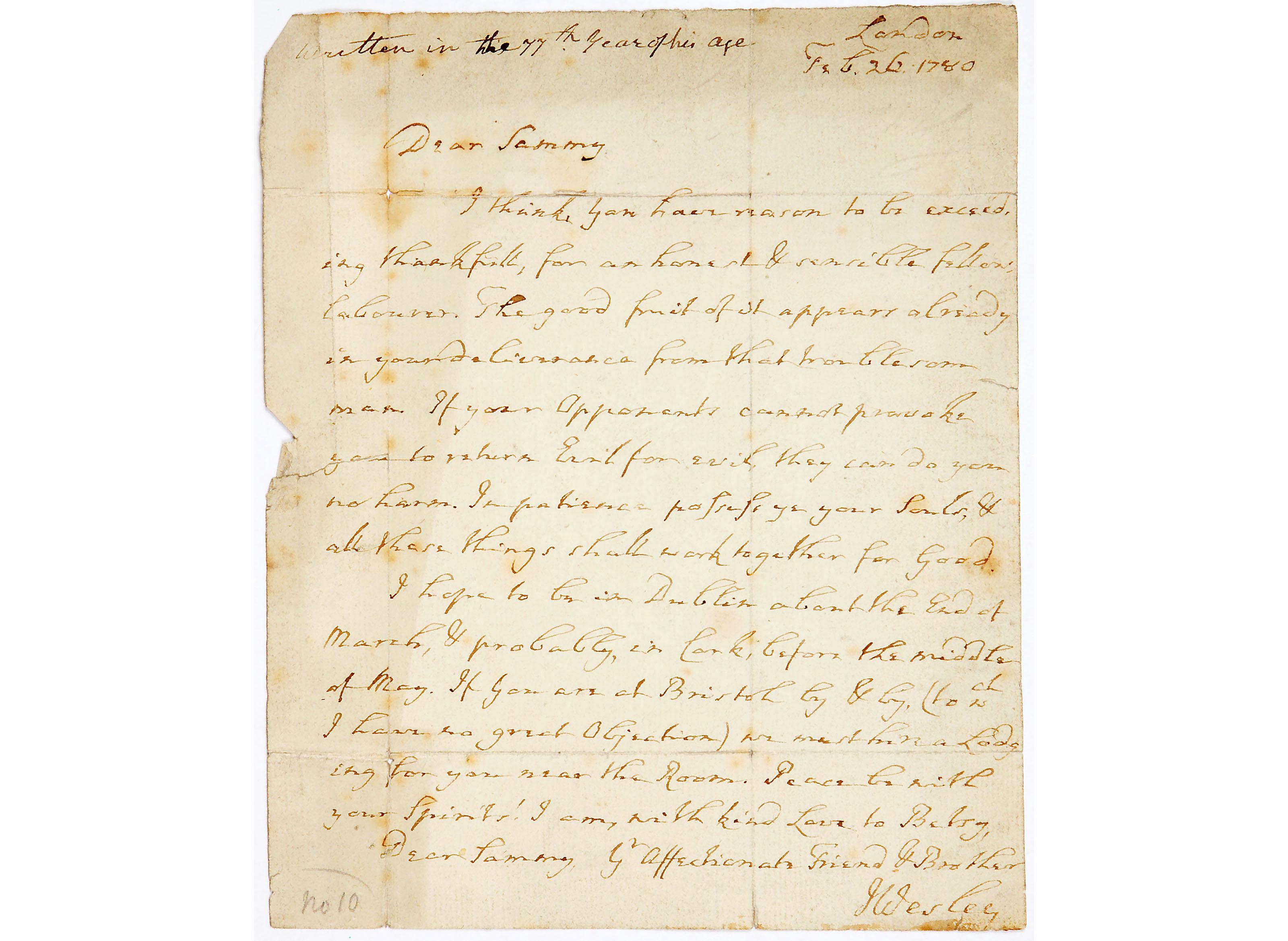 Letter from John Wesley to Samuel Bradburn