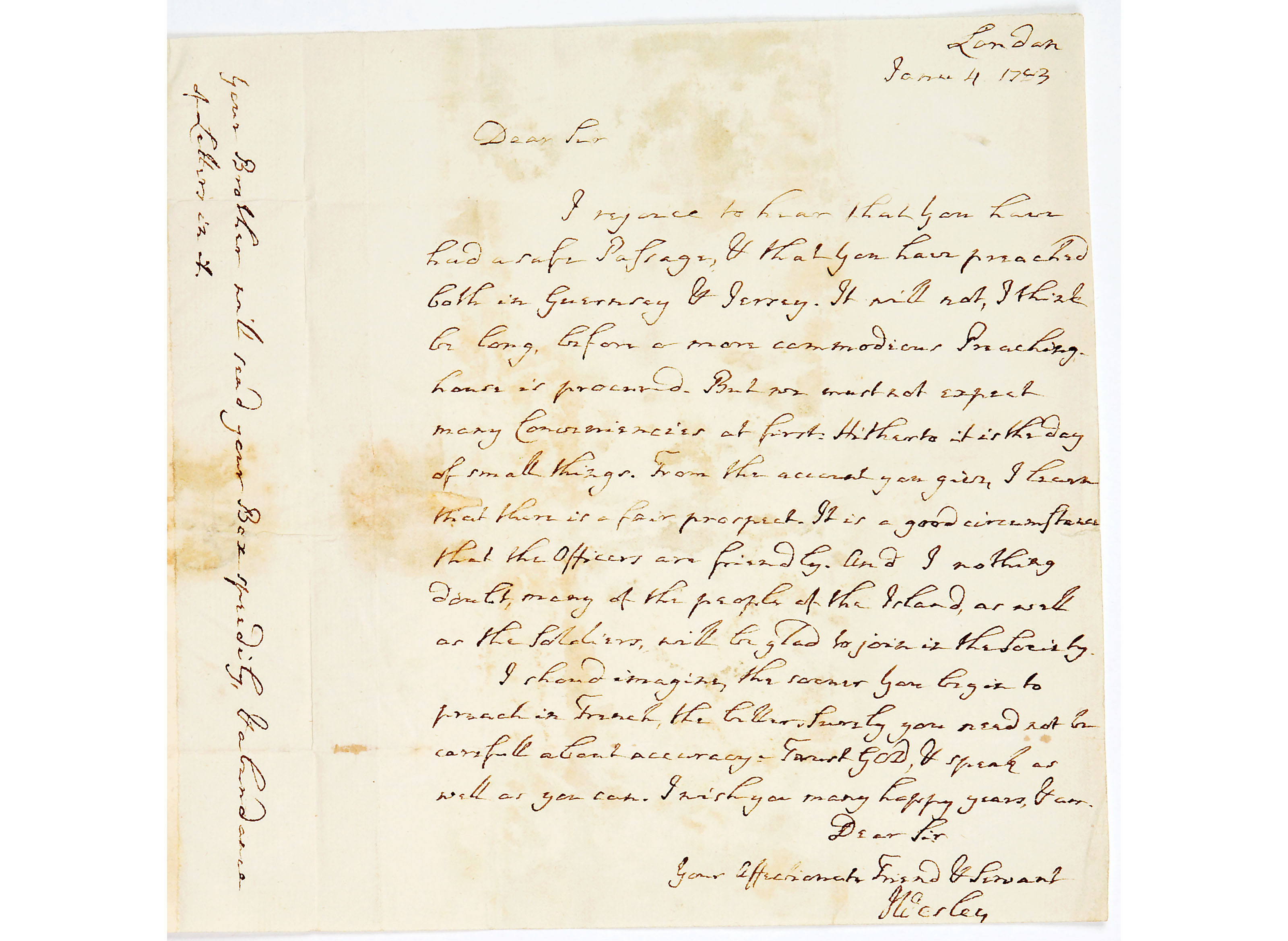 Letter from John Wesley to Mr Robert Brackenbury