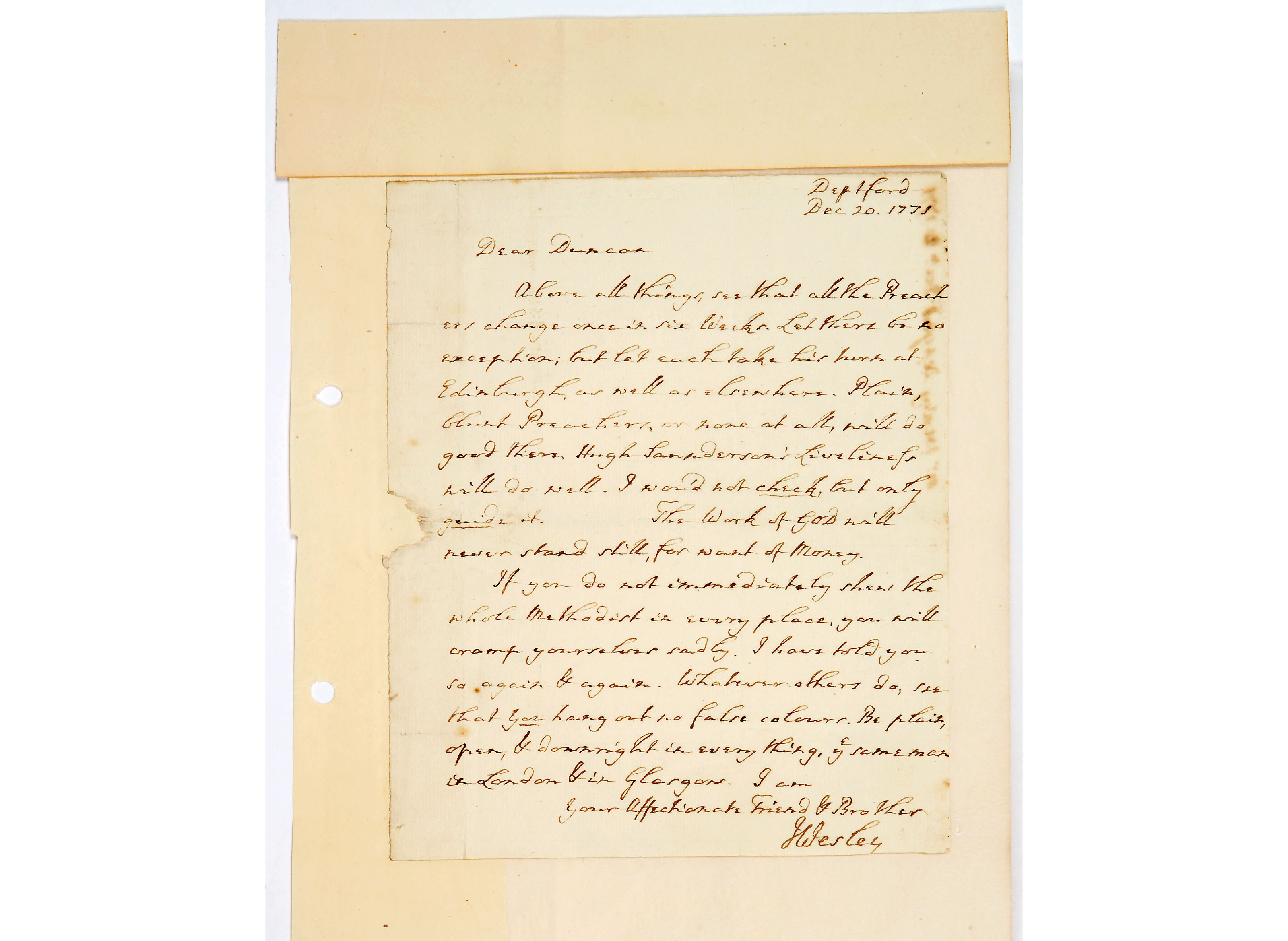 Letter from John Wesley to Mr Duncan Wright