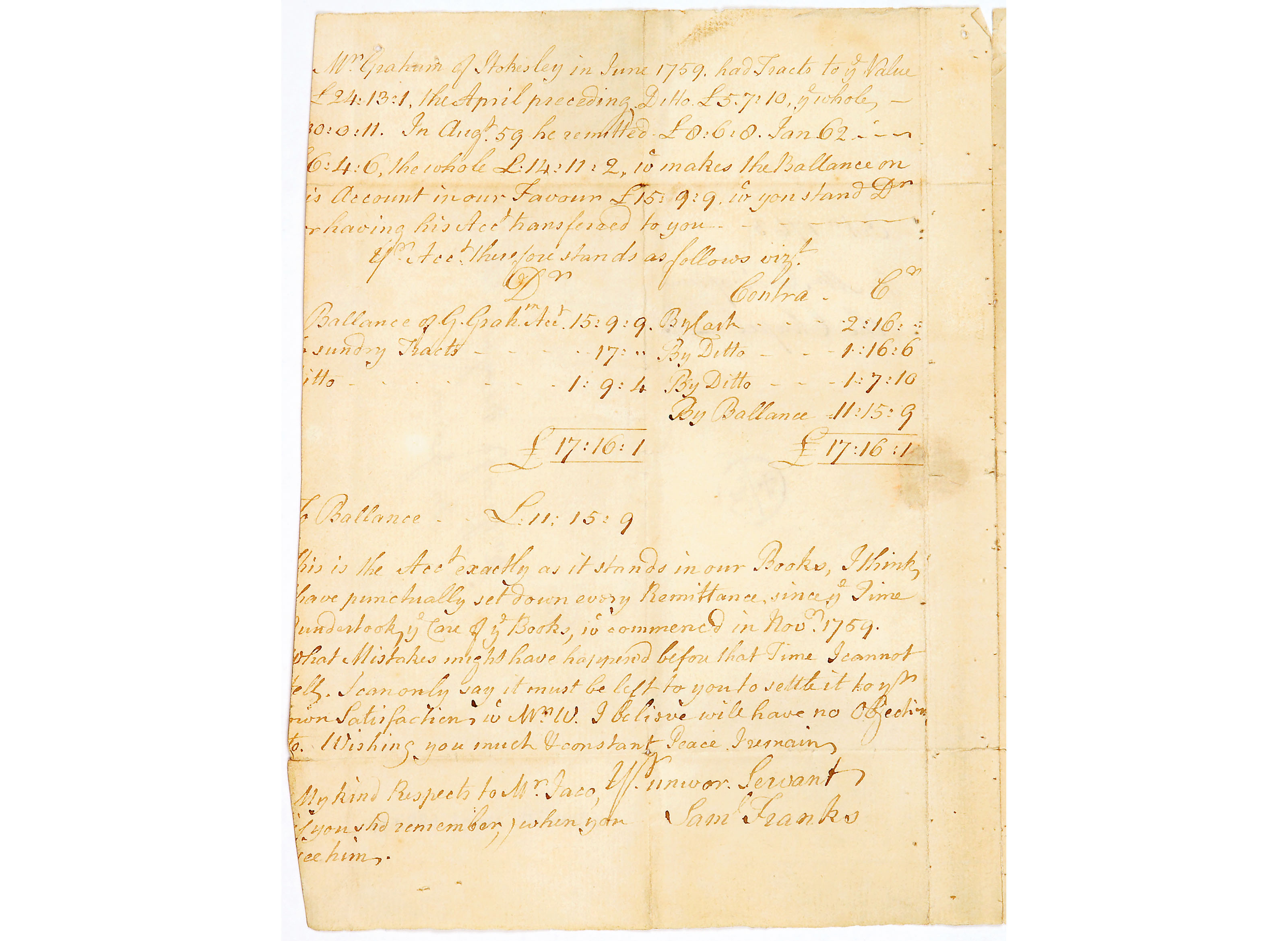 Letter from John Wesley to George Merryweather