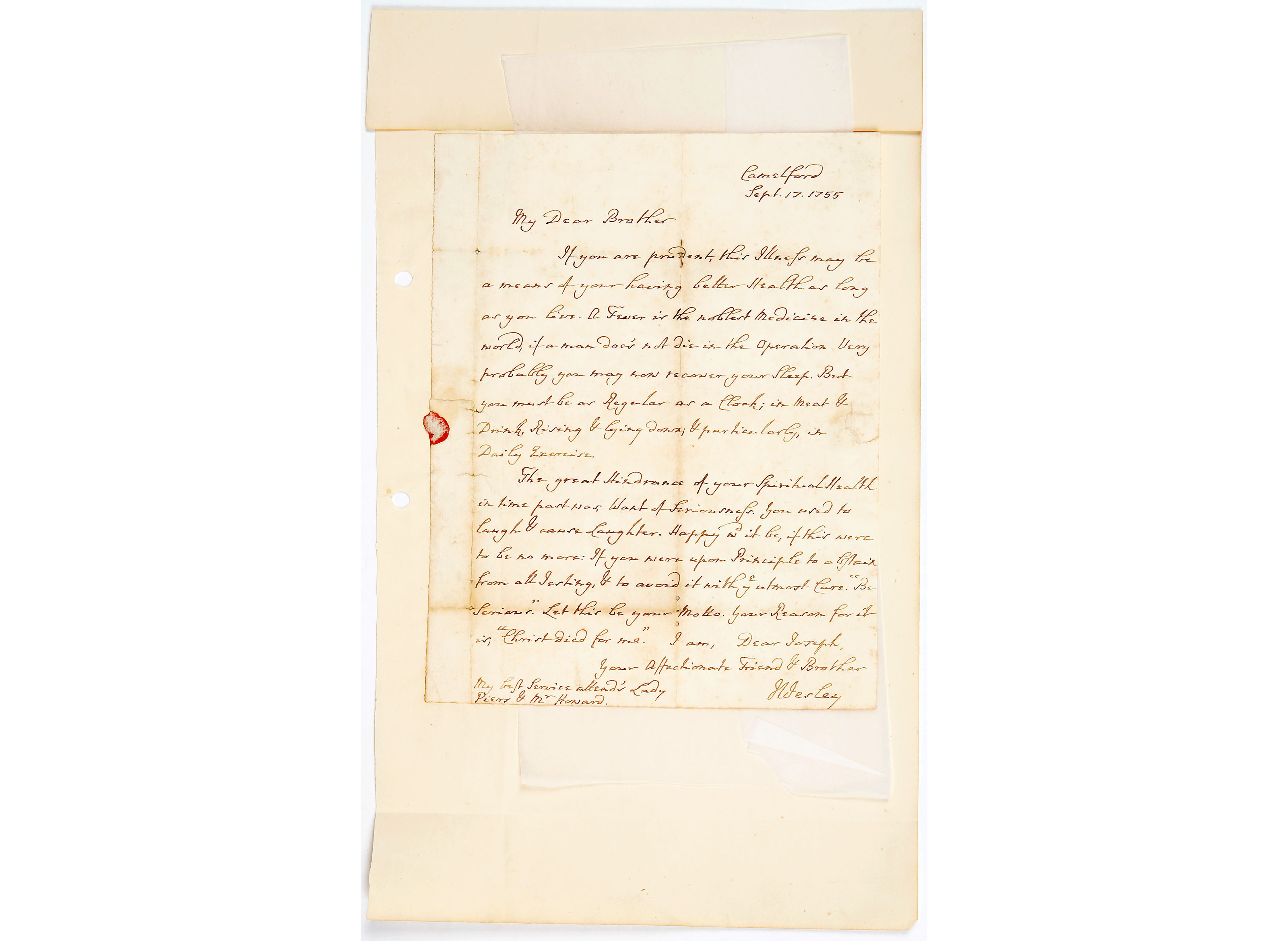 Letter from John Wesley to Mr Joseph Cownley
